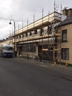 scaffolding and safety netting for house project