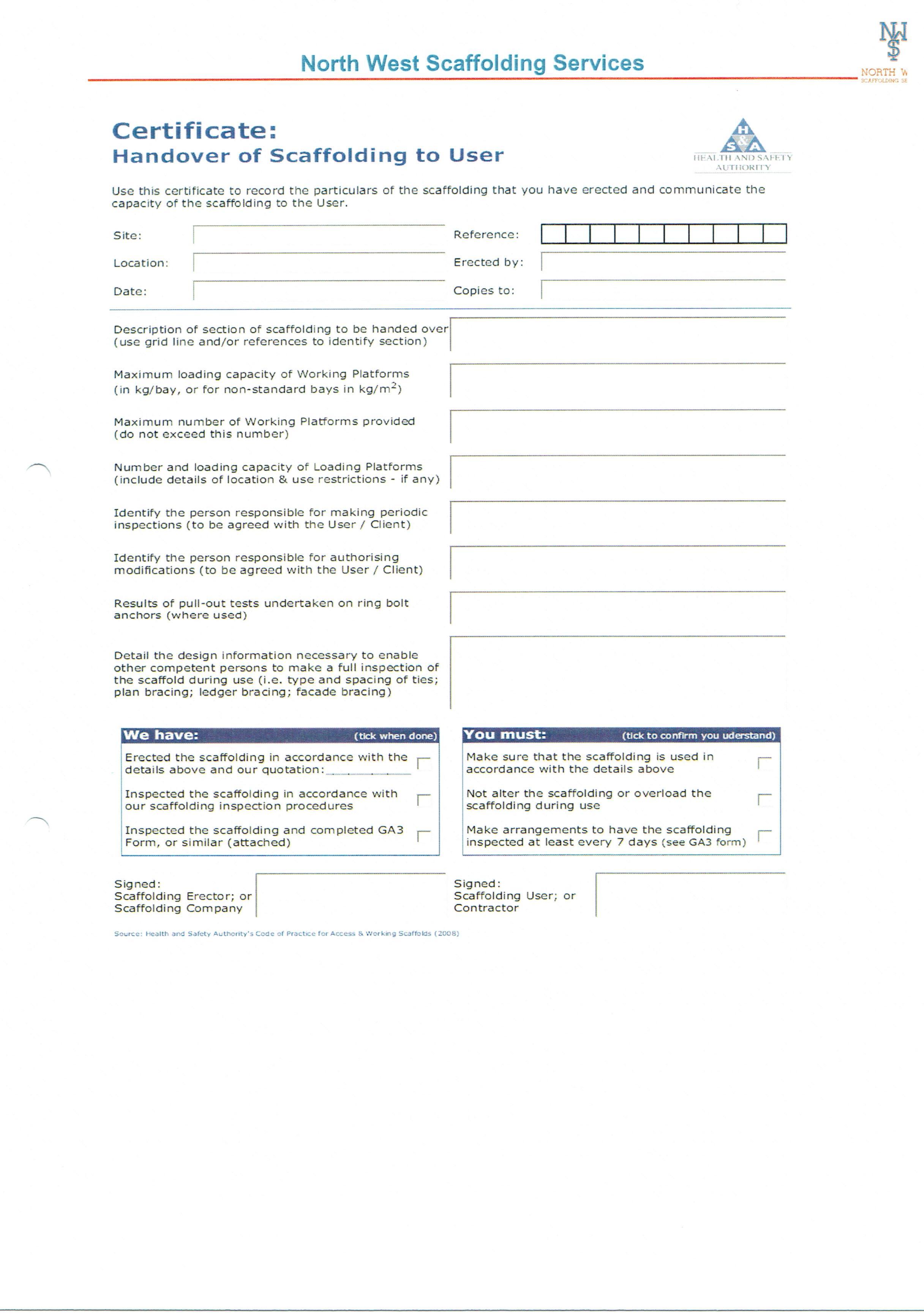 Handover of scaffolding Certificate